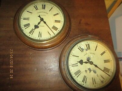 2 x Antique Wooden Synchronome Clock / Synchronome Wall Clock - one movement