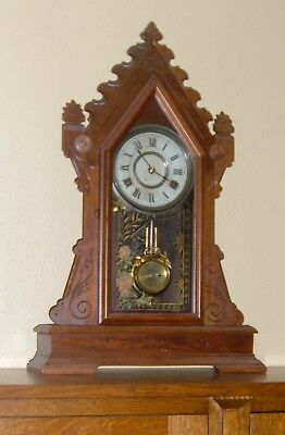 """ANTIQUE NEW HAVEN """"Clyde"""" WALNUT KITCHEN GINGERBREAD PARLOR CLOCK"""