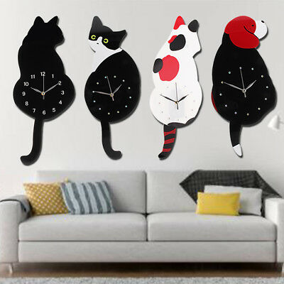 Creative Cartoon Animal Cat Dog Swinging Tail Pendulum Wall Clock Decor Gift