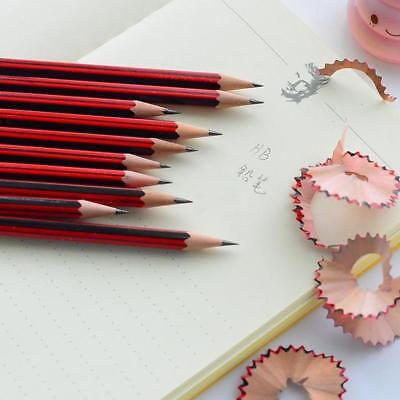 10 Pc / Lot Red Wooden Pencils Hb Pencil With Eraser Head Stationery For School'