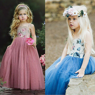 Kids Girl Flower Dress Maxi Long Princess Party Dresses Prom Gown Formal Dress