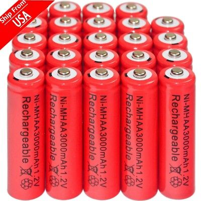 24pcs AA 3000mAh Ni-Mh 1.2V rechargeable Red battery Cell for MP3 RC Local Ship