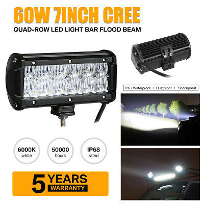 7inch CREE LED Work Light Bar Flood OffRoad Fog Driving 4WD 4x4 Reverse Truck