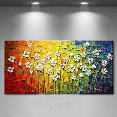 GUDI-Modern Home Art Decor Hand Drawn Abstract Flower 3D Oil Painting On Canvas