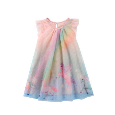 Toddler Kid Baby Girl Unicorn Party Pageant Tutu Tulle Dress Sundress Summer AU