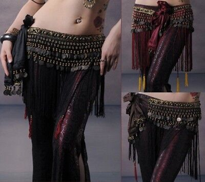 Hot Belly Dance Hip Scarf Tribal Fringe  Belt Copper Coins Costume Fancy belt