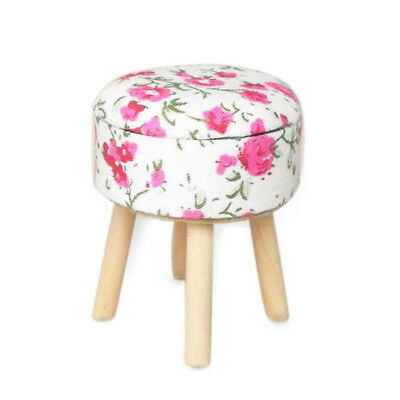 1:12 Dollhouse Miniature Furniture Wooden Bar Stool Elegant Flower Print Chair ♫