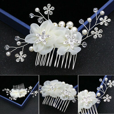 Crystal Pearl Bridal Bridesmaids Wedding Headpiece Flower Hair Comb Side Clip