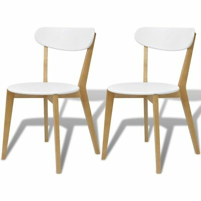 vidaXL 2x Dining Chairs MDF and Birch Wood with Backrest Kitchen Office Seat