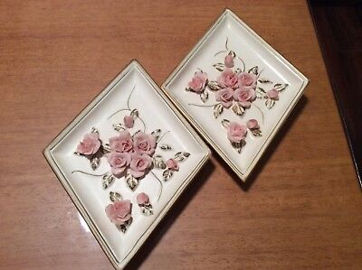 Vintage Lefton Applied Pink Rose Wall Plaques Shabby Cottage Chic Romantic Japan