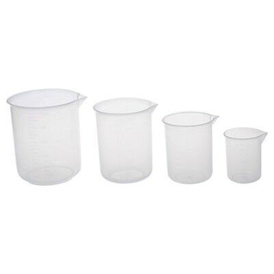 3X(50 150 250 500 ml Laboratory transparent plastic measuring cup 4 pieces. C1R9