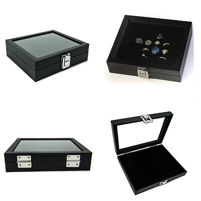 Ring Box Organizer Jewelry Holder Glass Top Display Case For Home Decoration