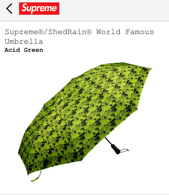 Supreme ShedRain World Famous Umbrella Acid Green SS18A47 Brand New SS18 2018 DS