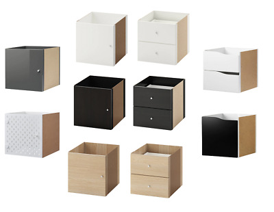 ikea kallax einsatz mit t r wei eiche gelb grau glanz birke regal schrank eur 12 40. Black Bedroom Furniture Sets. Home Design Ideas