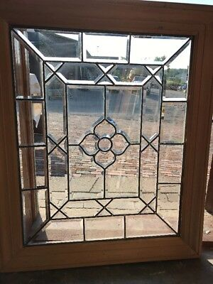 SG 2386 beautiful antique all beveled glass landing window 31.5 x 38
