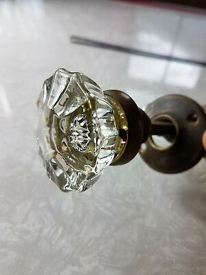 Vintage Pair National Brass Co. Glass Brass Door Knobs