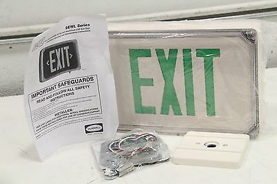 SEWLDGW Dual-Lite Exit Sign 1.8W LED Green White 2S NEW Hubbell