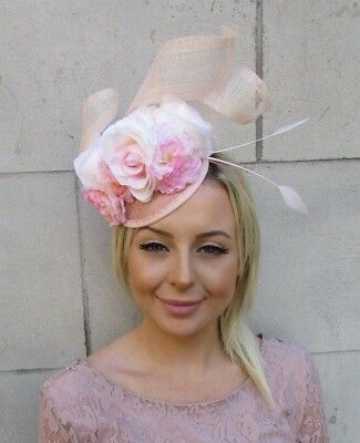 Light Blush Pink Sinamay Rose Flower Feather Hat Fascinator Races Hair 5985