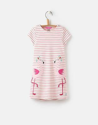 Joules Kaye Applique Jersey Dress in Pink Flamingo