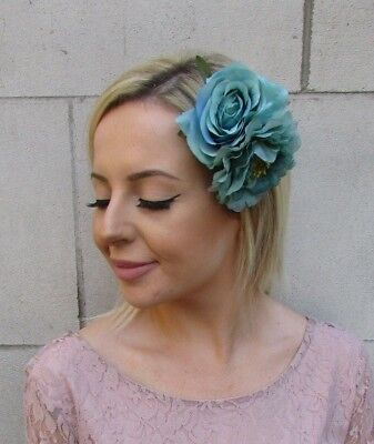 Jade Turquoise Green Double Rose Peony Flower Hair Clip Wedding Fascinator 5987
