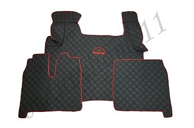 Set of LHD Black/Red Floor Mats Cover For MAN TGX/TGS/TGA 2010-2017 Eco Leather.