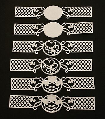 6 x White Romantic Agenda Decorative Strips Die Cuts Card Making Toppers