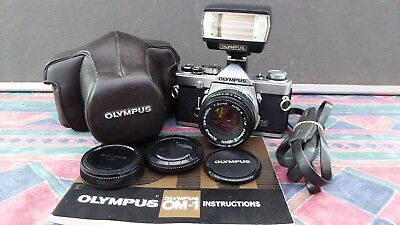 Superb PRO Olympus OM1n MD 35mm SLR Film Camera +50mm f1.8 Zuiko lens & extras
