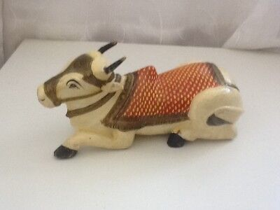 Vintage Wooden Indian Holy Cow Lying Down