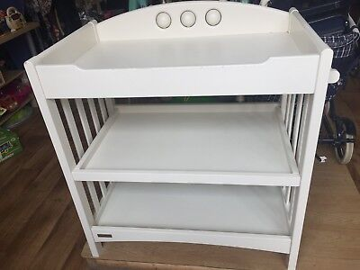 white baby changing table, used