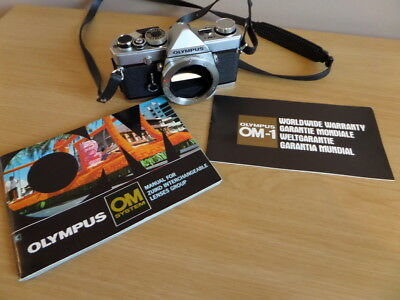 Legendary OLYMPUS OM-1 SLR 35mm Film Camera Body & User Manual - Working Order