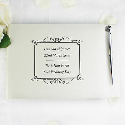 Personalised Black Guest Book   Pen Wedding Anniversary Gift Women Men 1b4ad8cedb