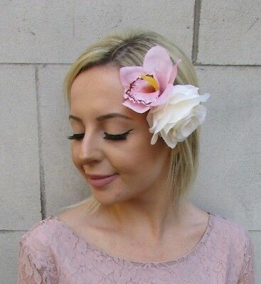 Double Blush Light Nude Pink Cream Rose Orchid Flower Hair Clip Fascinator 5990
