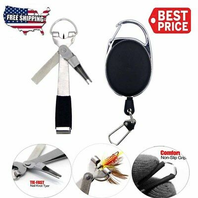 Quick Knot Tying Tools 4 in 1 Fly Fishing Clippers Line Nipper w/ Zinger New
