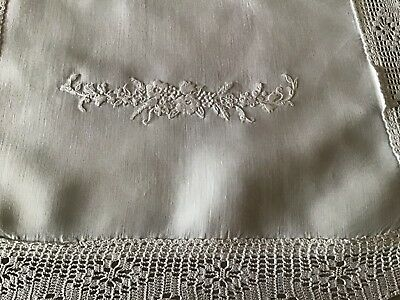 Beautiful Antique Irish Linen Table Runner ~ Hand Embroidered Whitework/lace