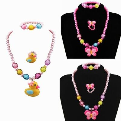 3pcs Filles Canard Papillon Candy Perle Bague Collier Bracelet Bijoux Set Nice