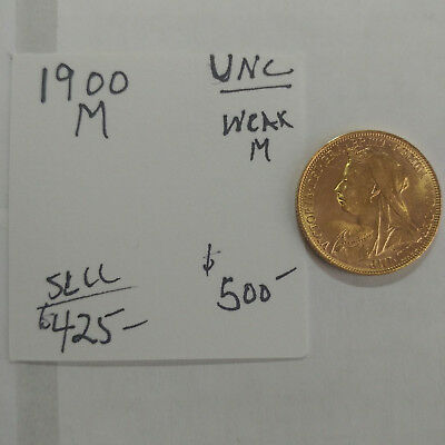1900-M Gold Sovereign - Old Head - UNC Weak M - Free Shipping #1