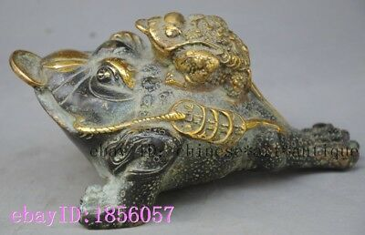Old Chinese fengshui bronze Wealth Money Coin Golden Toad spittor Lucky statue