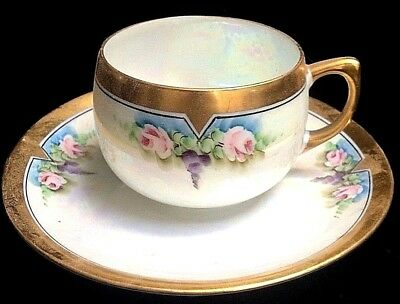 Beautiful Arts & Crafts Era Hand Painted Luster Cup & Saucer
