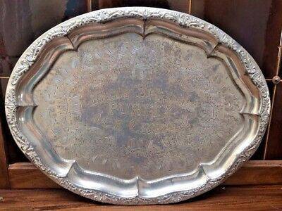 Antique Silverplated Belle Springs Purity Ice Cream Advertising Tray