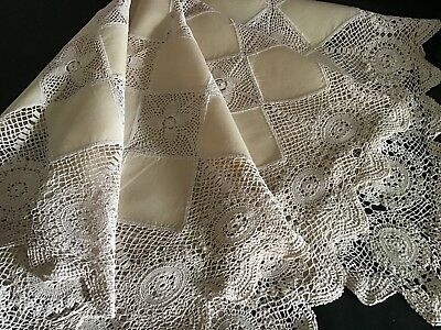 Beautiful Vintage Cream Linen Tablecloth ~ Cream Lace Trim & Inserts