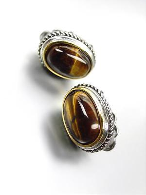 GORGEOUS Designer BALINESE Silver Cable Oval Tigers Eye Stone CLIP Earrings