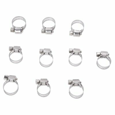 10 Pcs 9mm-16mm Adjustable Stainless Steel Worm DriveHose Cs Pipe Clamps U1N3