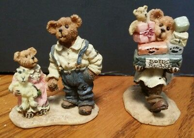 2 Boyds Bear Town Village Accessory Stuff Poppa McBear & Lucy, Ted E. Bear w/Jr