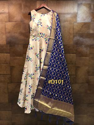 New Digital Printed Gown in Beautiful Flower Buti with Designer Sleeve For Women