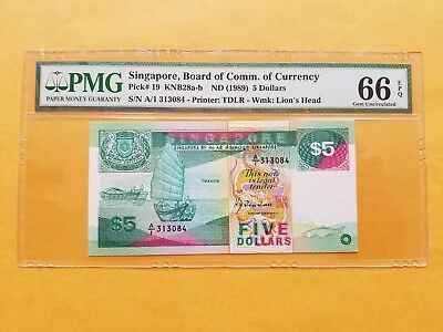 $5 {1989} Singapore Board of Comm.of Currency PMG 66