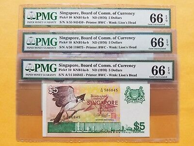 $5 X (3) {1976} Singapore Board of Comm.of Currency PMG 66