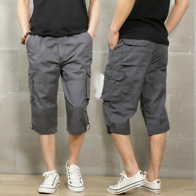 7974def4eb2d75 2018 Mens Cargo Shorts Capri Short Pants Men Military Work Pants Combat  Trousers