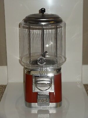 "LYPC  Classic Gumball Machine Red and Chrome 15"" x 7"" 25 Cent Mechanism"