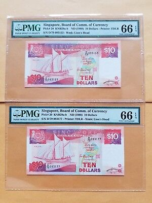 $10 X (2) {1988} Singapore Board of Comm.of Currency PMG 66