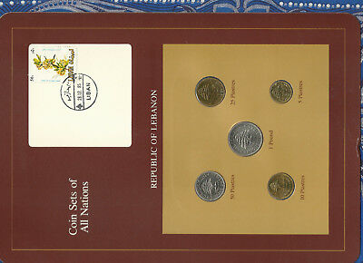 Coin Sets of All Nations Lebanon 1975-1981 UNC 50,25 Piastres 1980 1 Pound 1981